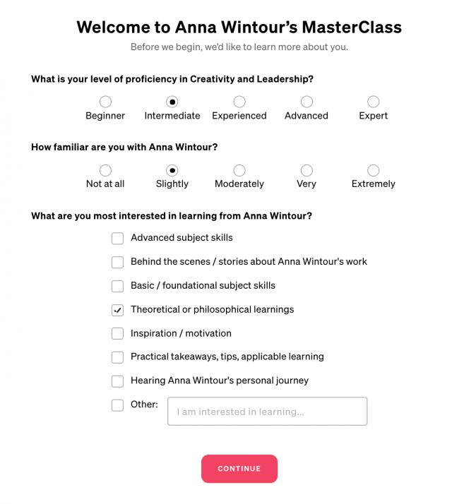 Anna Wintour's MasterClass.